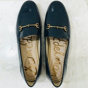 SAM EDELMAN 6.5 Horse Bit Loafer Patent Navy Blue